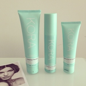 Left to right: the KORA Organics Foaming Cleanser, Energising Citrus Mist, and Purifying Day and Night Cream